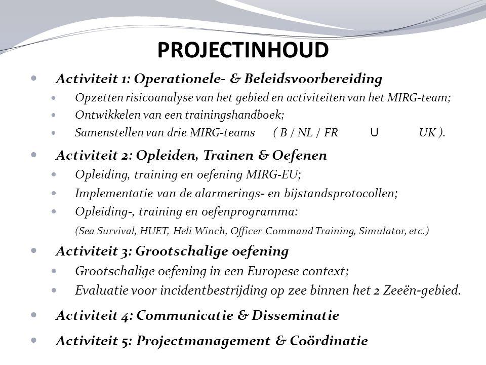 PROJECTINHOUD Activiteit 1: Operationele- & Beleidsvoorbereiding