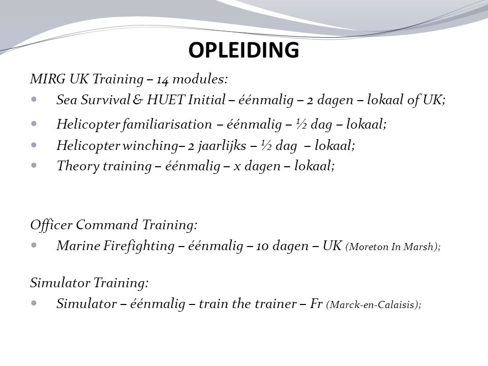 OPLEIDING MIRG UK Training – 14 modules:
