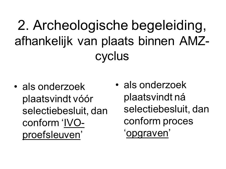 2. Archeologische begeleiding, afhankelijk van plaats binnen AMZ-cyclus