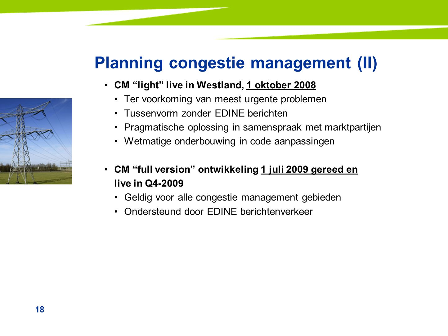 Planning congestie management (II)