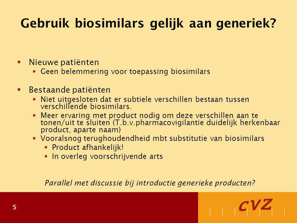Plaats biosimilars Nieuwe geneesmiddelen zouden therapeutisch en/of economisch voordeel moeten bieden.