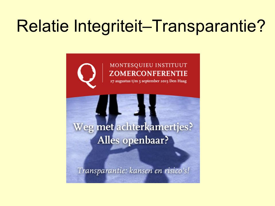 Relatie Integriteit–Transparantie