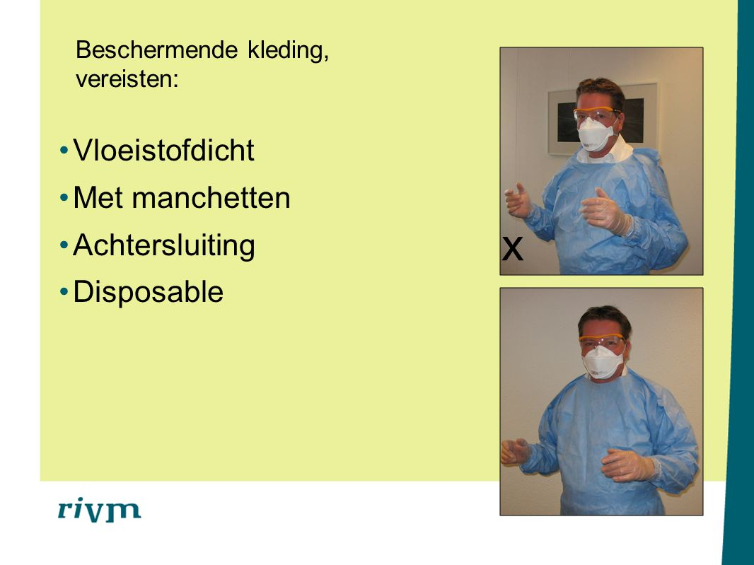 Beschermende kleding, vereisten: