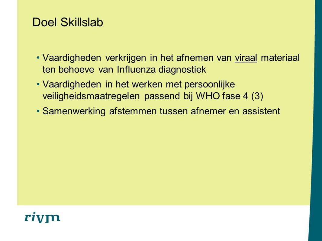 Doel Skillslab Vaardigheden verkrijgen in het afnemen van viraal materiaal ten behoeve van Influenza diagnostiek.