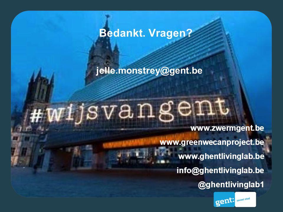 Bedankt. Vragen jelle.monstrey@gent.be www.zwermgent.be