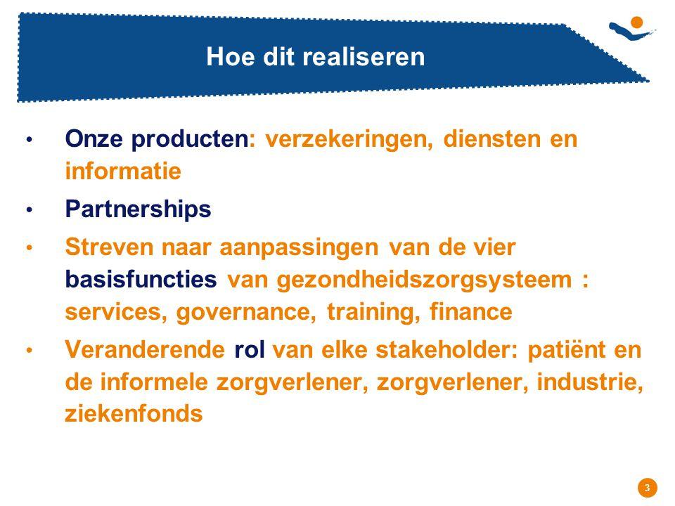 Hoe dit realiseren Onze producten: verzekeringen, diensten en informatie. Partnerships.