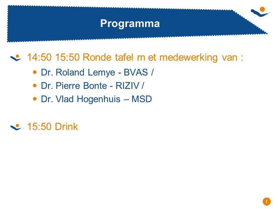 Programma 14:50 15:50 Ronde tafel m et medewerking van : 15:50 Drink