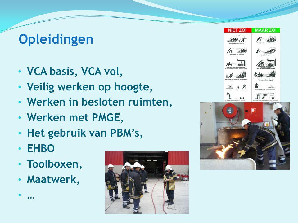 Opleidingen VCA basis, VCA vol, Veilig werken op hoogte,