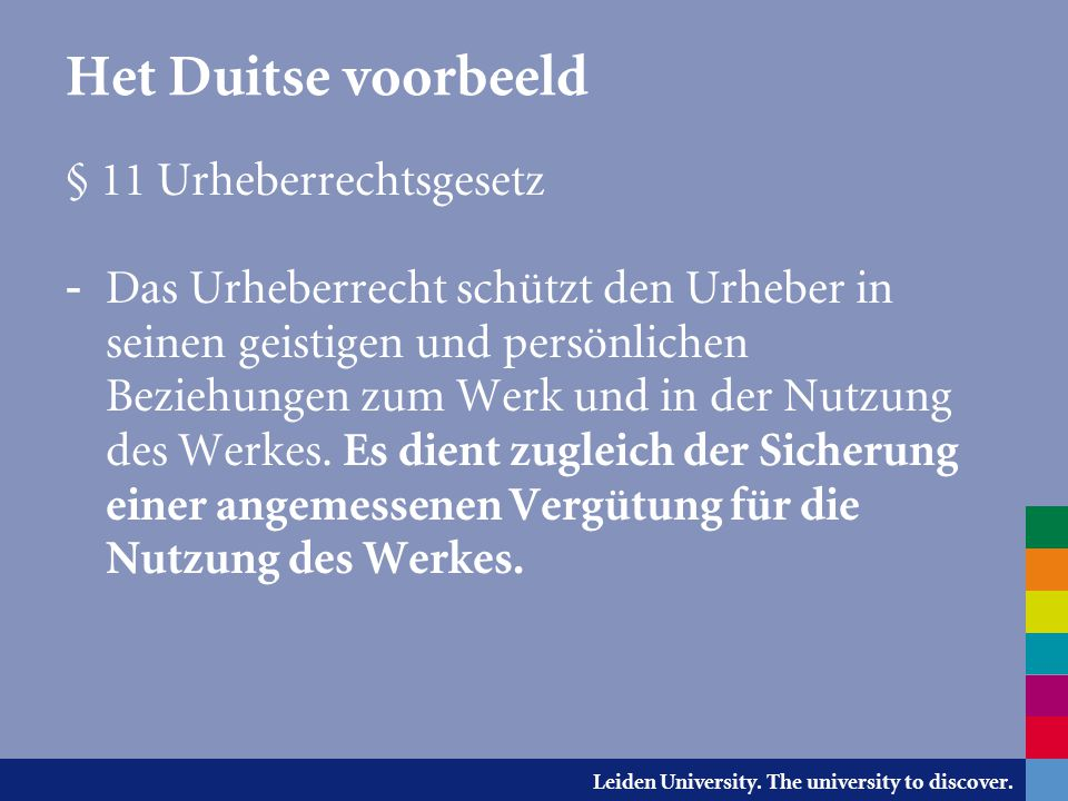Het Duitse voorbeeld § 11 Urheberrechtsgesetz