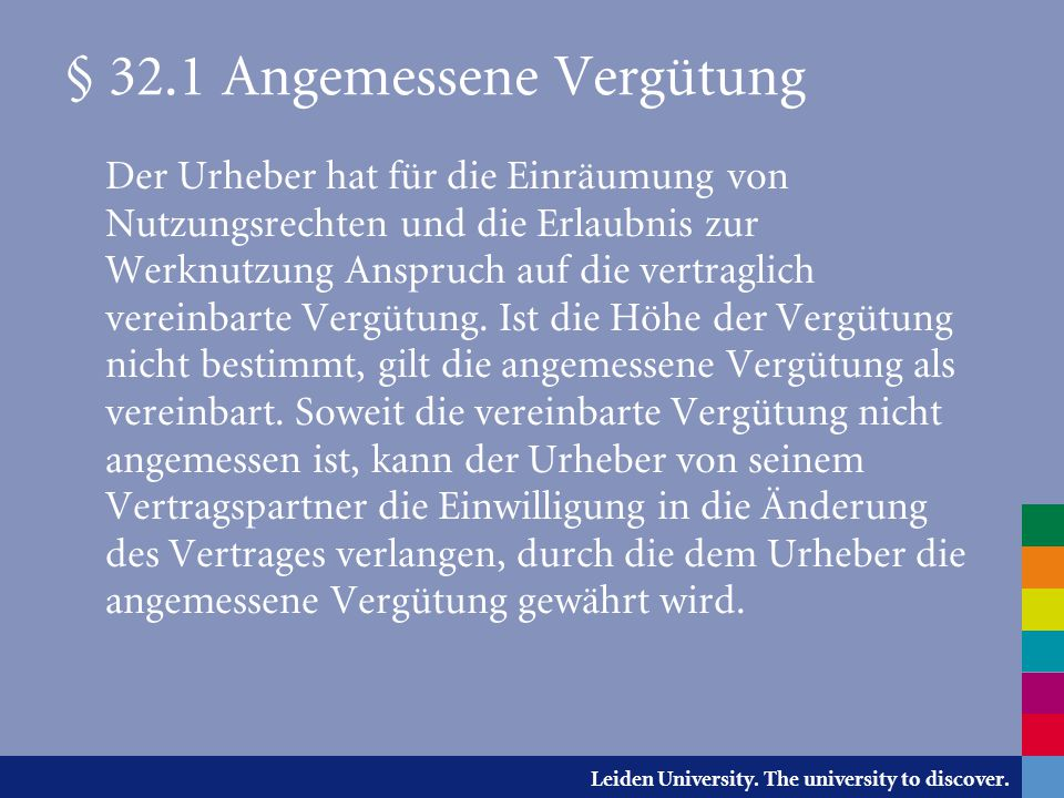 § 32.1 Angemessene Vergütung