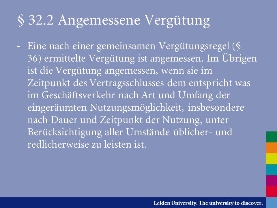 § 32.2 Angemessene Vergütung