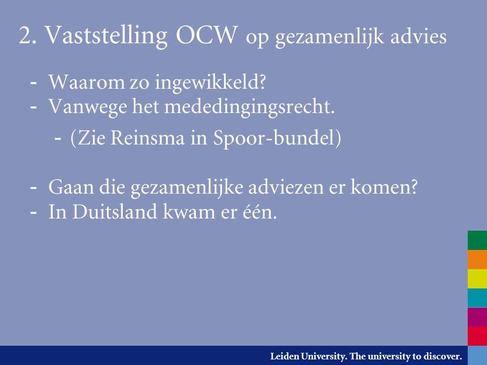 2. Vaststelling OCW op gezamenlijk advies