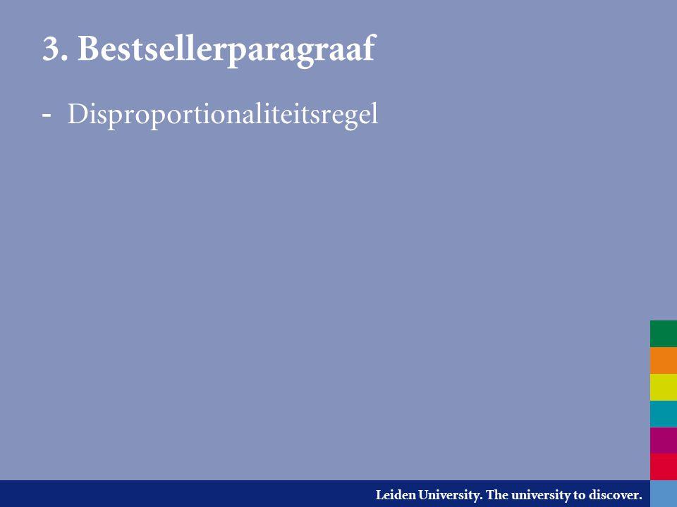 3. Bestsellerparagraaf Disproportionaliteitsregel