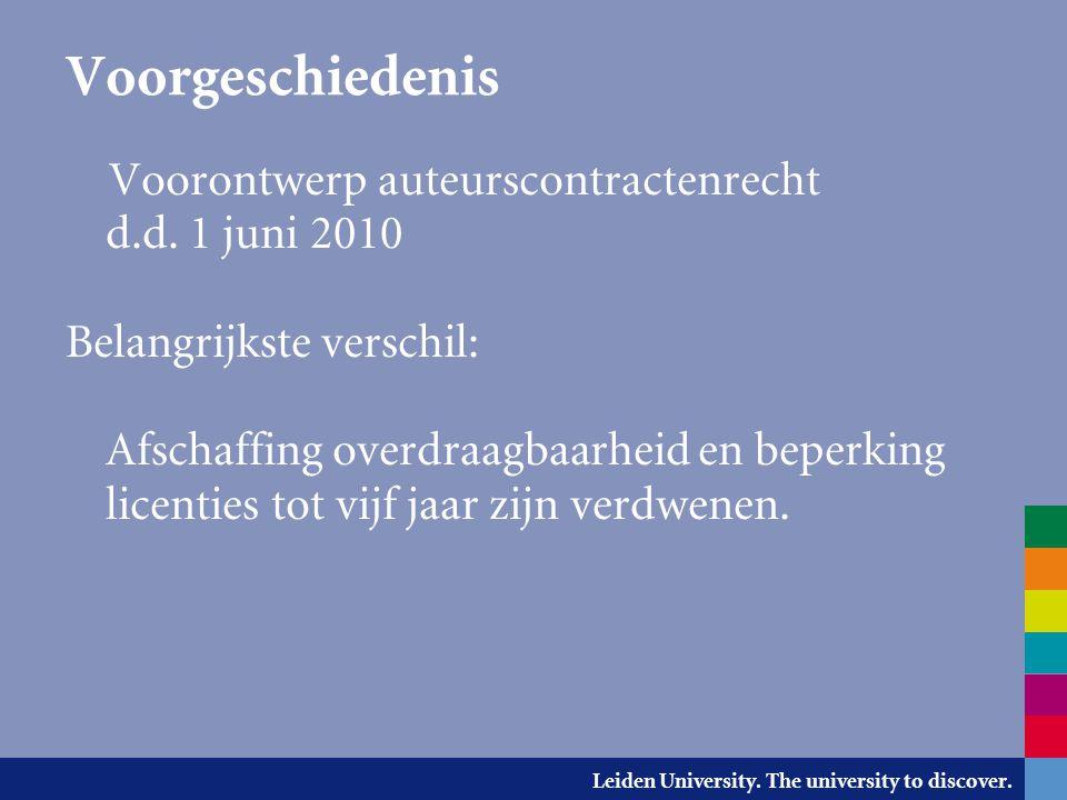 Voorgeschiedenis Voorontwerp auteurscontractenrecht d.d. 1 juni 2010