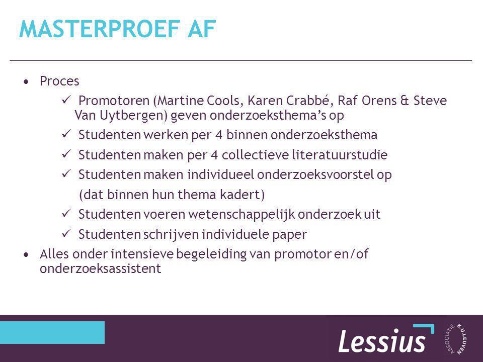 Masterproef AF Proces. Promotoren (Martine Cools, Karen Crabbé, Raf Orens & Steve Van Uytbergen) geven onderzoeksthema's op.
