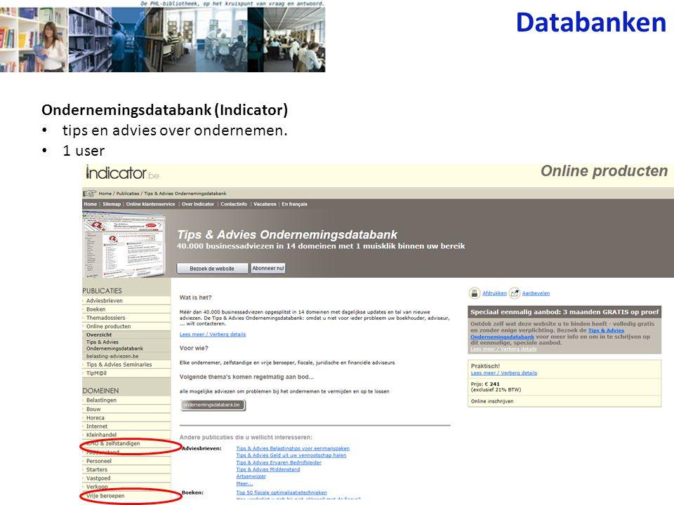 Databanken Ondernemingsdatabank (Indicator)