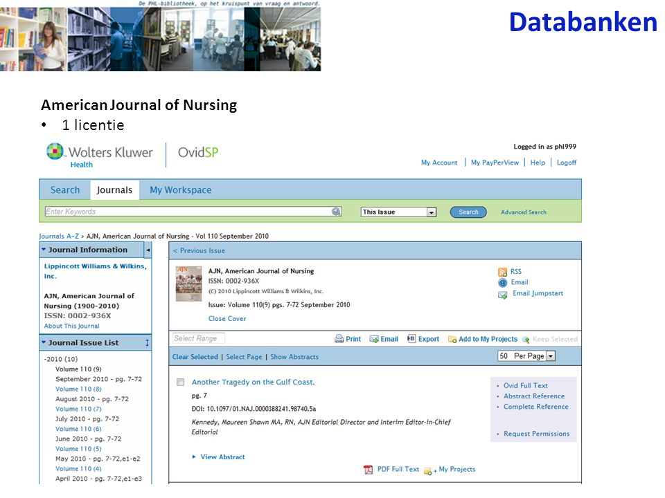 Databanken American Journal of Nursing 1 licentie