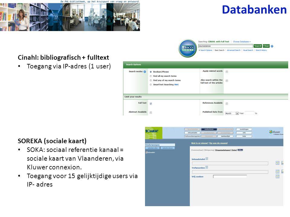 Databanken Cinahl: bibliografisch + fulltext