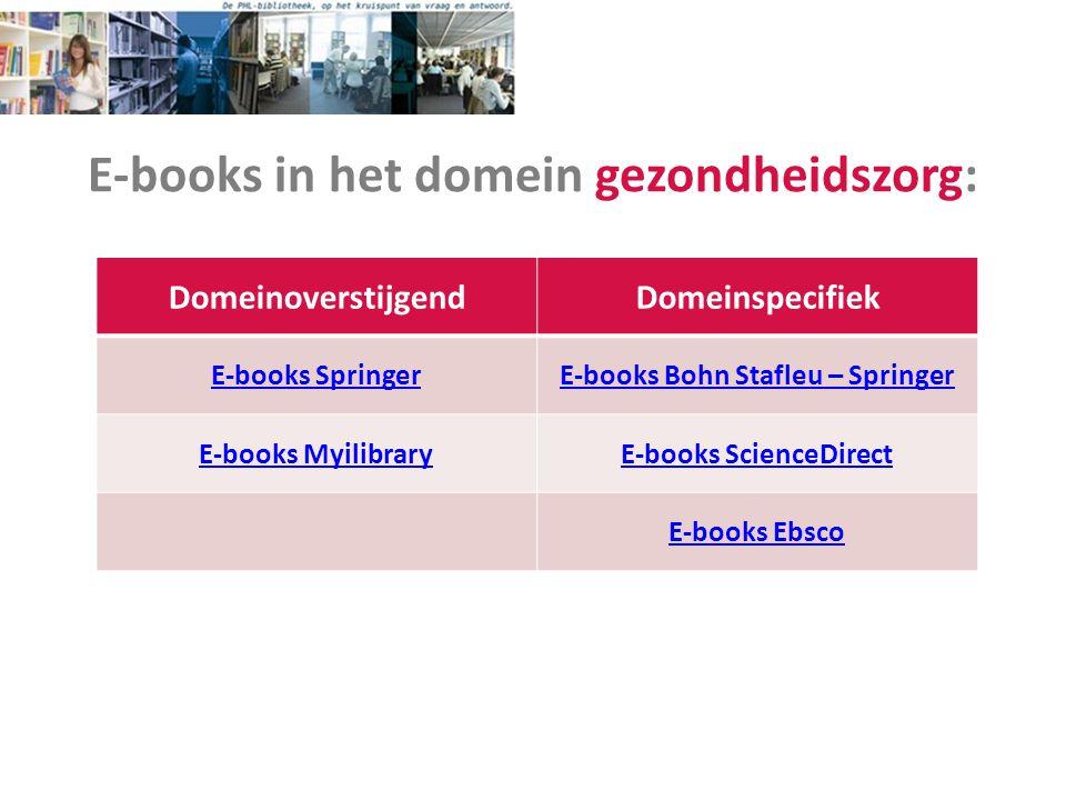 E-books in het domein gezondheidszorg: