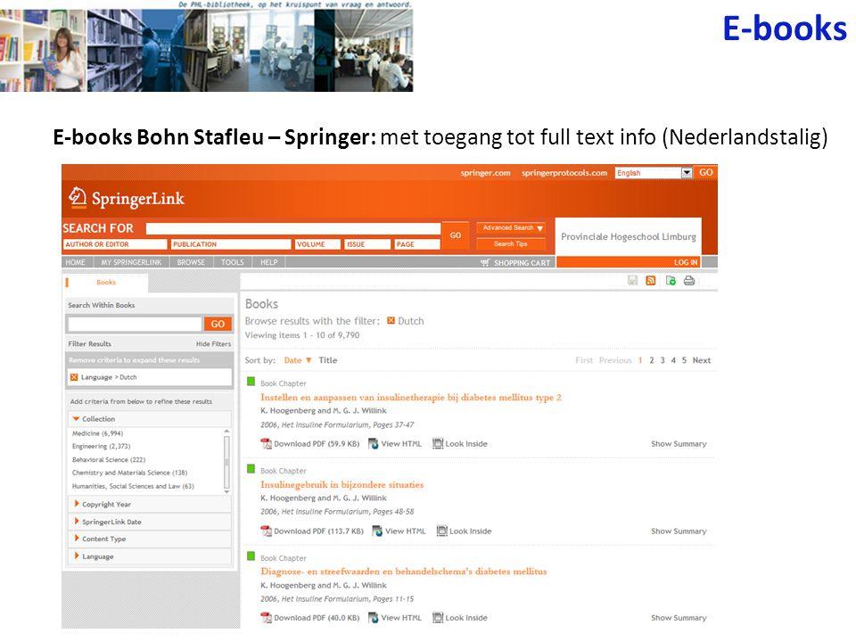 E-books E-books Bohn Stafleu – Springer: met toegang tot full text info (Nederlandstalig)