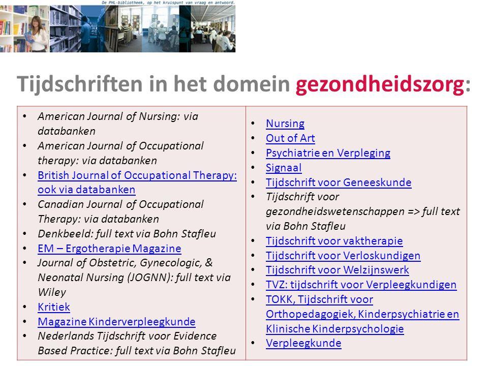 Tijdschriften in het domein gezondheidszorg: