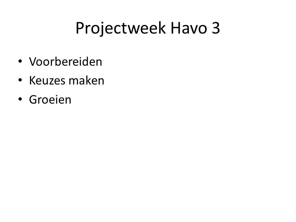 Projectweek Havo 3 Voorbereiden Keuzes maken Groeien