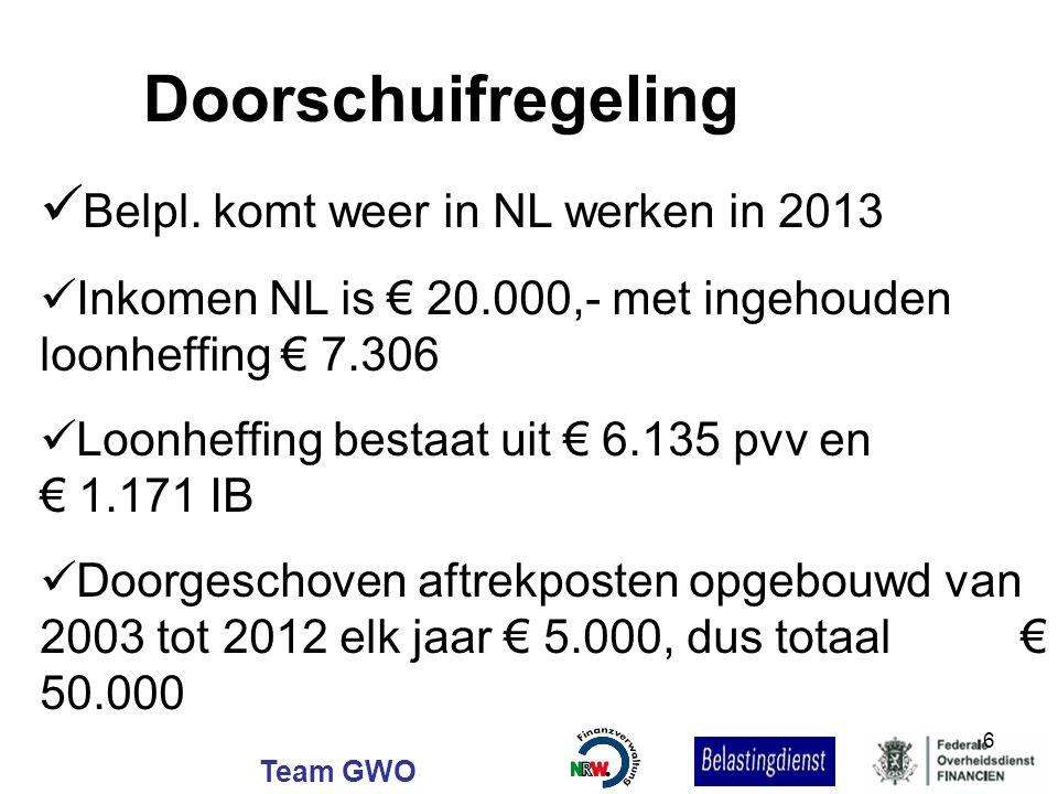 Doorschuifregeling Belpl. komt weer in NL werken in 2013