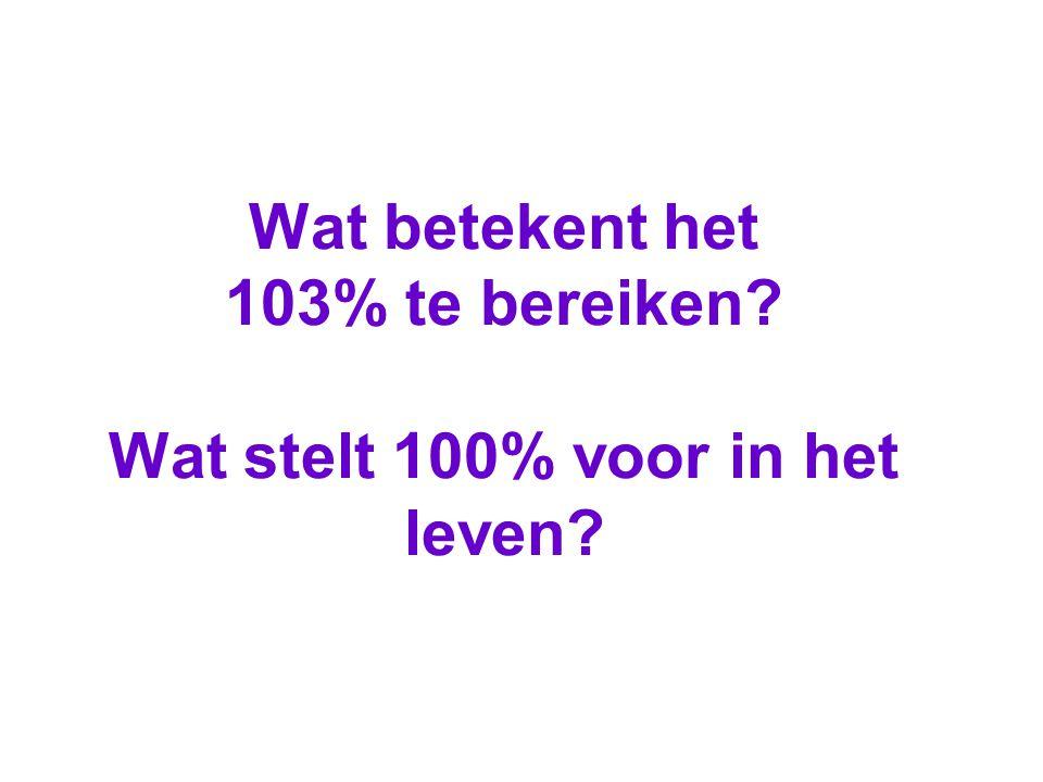 Wat betekent het 103% te bereiken Wat stelt 100% voor in het leven