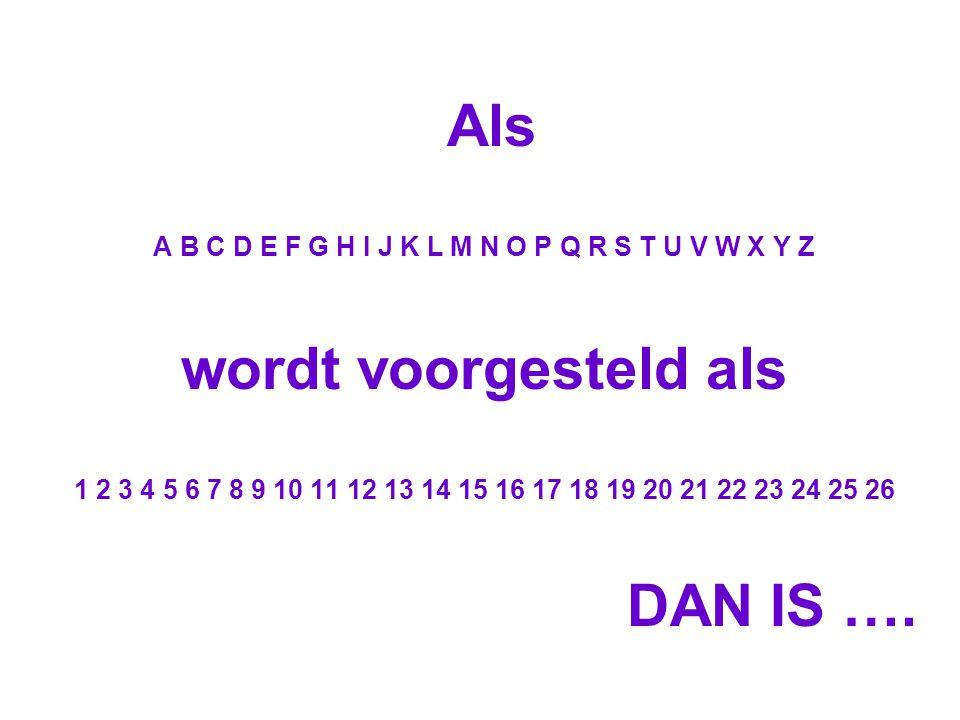 Als A B C D E F G H I J K L M N O P Q R S T U V W X Y Z wordt voorgesteld als 1 2 3 4 5 6 7 8 9 10 11 12 13 14 15 16 17 18 19 20 21 22 23 24 25 26 DAN IS ….