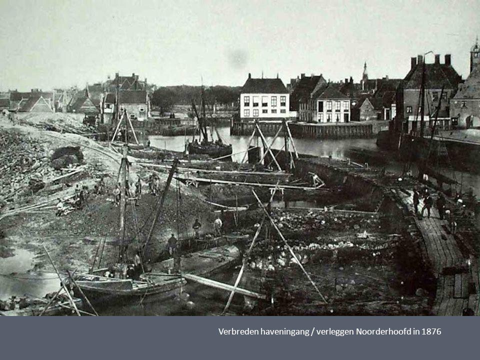Verbreden haveningang / verleggen Noorderhoofd in 1876