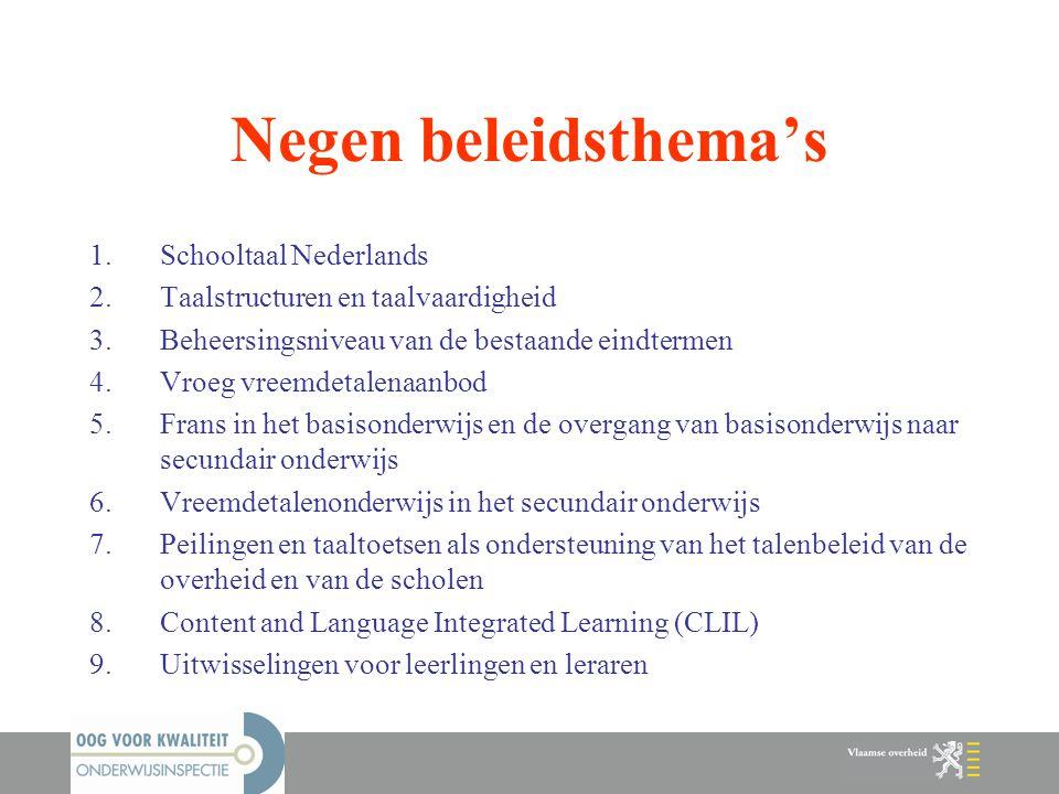 Negen beleidsthema's Schooltaal Nederlands