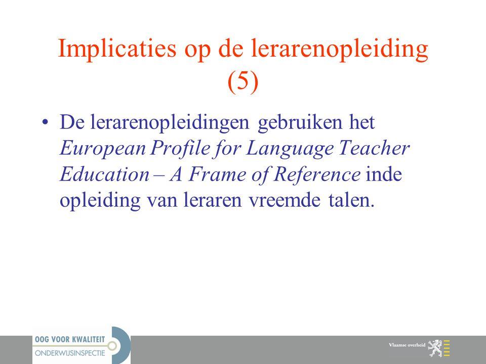 Implicaties op de lerarenopleiding (5)