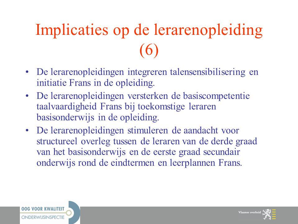 Implicaties op de lerarenopleiding (6)