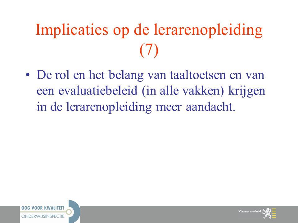 Implicaties op de lerarenopleiding (7)