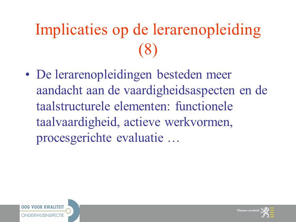 Implicaties op de lerarenopleiding (8)