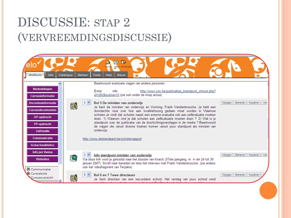 DISCUSSIE: stap 2 (vervreemdingsdiscussie)