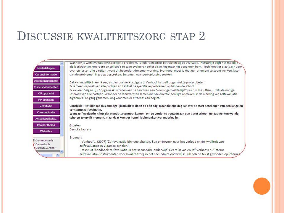 Discussie kwaliteitszorg stap 2