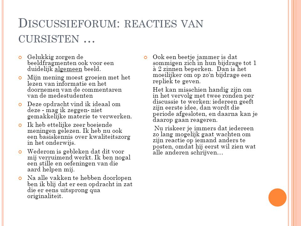Discussieforum: reacties van cursisten …
