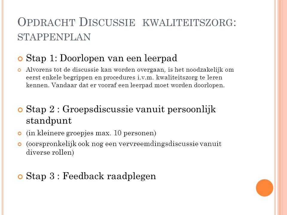 Opdracht Discussie kwaliteitszorg: stappenplan