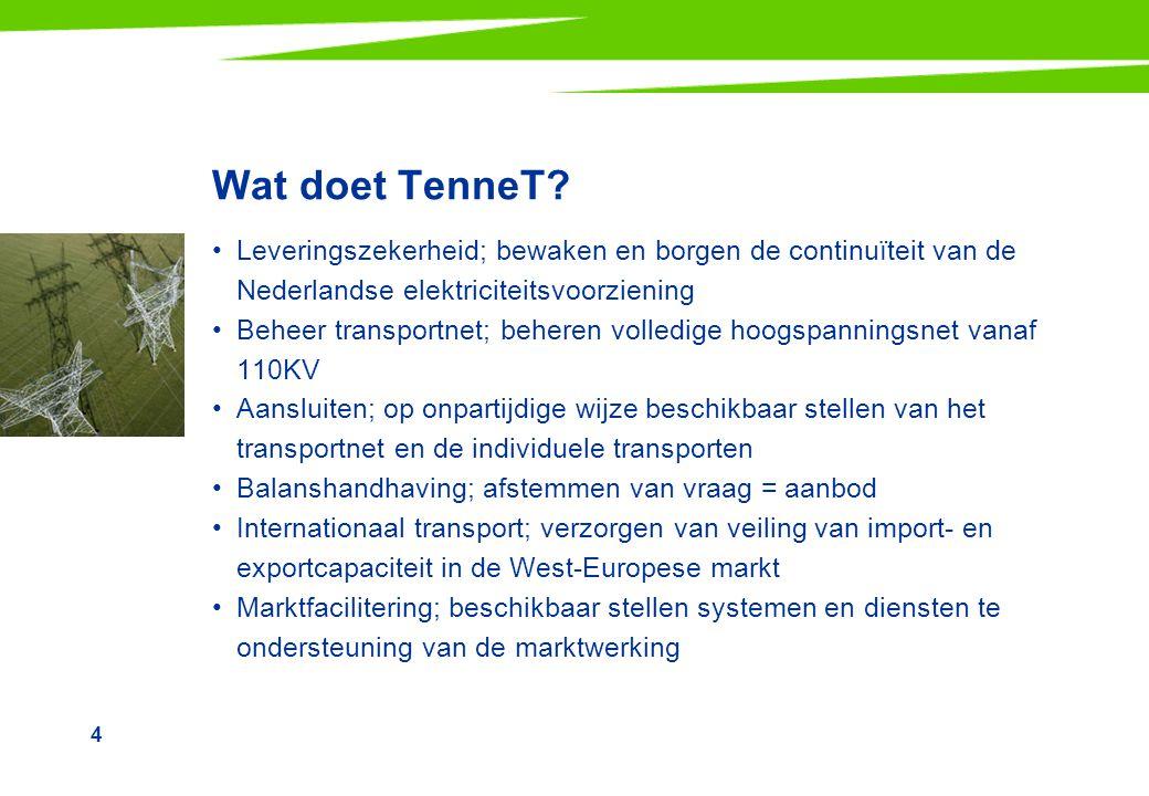Wat doet TenneT Leveringszekerheid; bewaken en borgen de continuïteit van de Nederlandse elektriciteitsvoorziening.