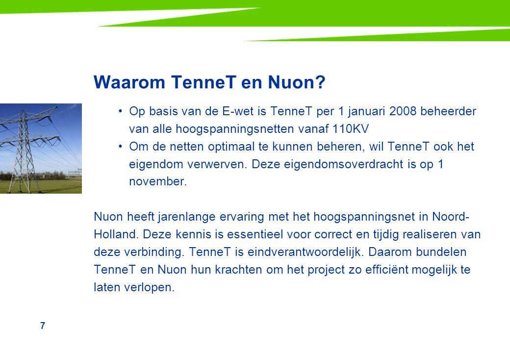 Waarom TenneT en Nuon Op basis van de E-wet is TenneT per 1 januari 2008 beheerder van alle hoogspanningsnetten vanaf 110KV.