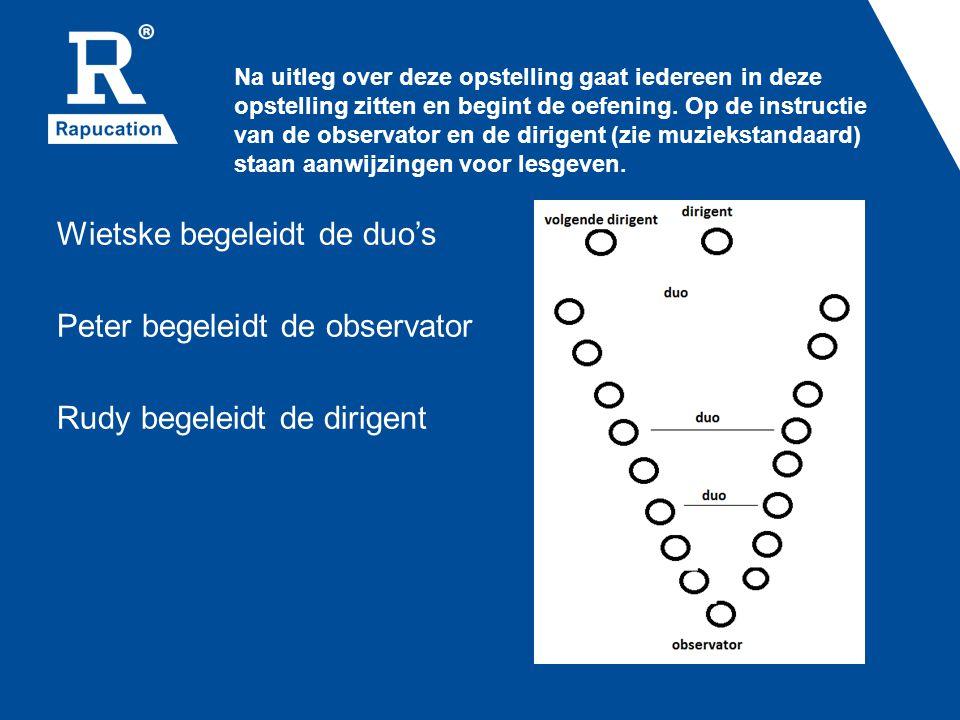 Na uitleg over deze opstelling gaat iedereen in deze opstelling zitten en begint de oefening. Op de instructie van de observator en de dirigent (zie muziekstandaard) staan aanwijzingen voor lesgeven.