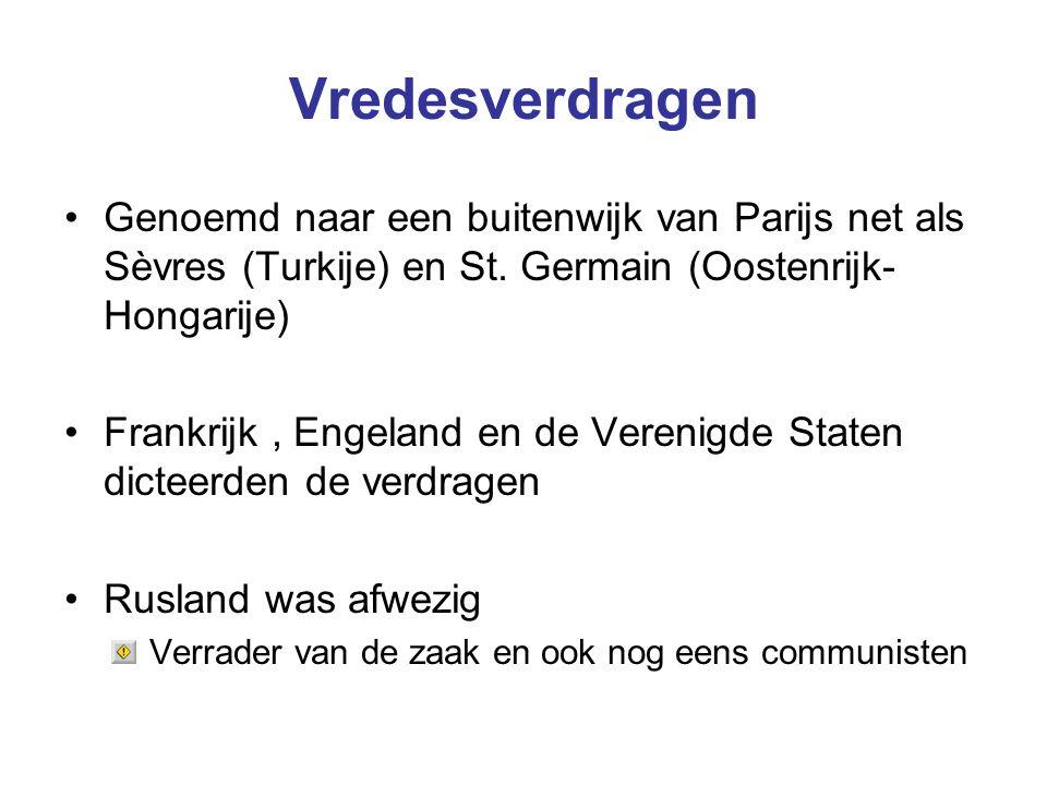 Vredesverdragen Genoemd naar een buitenwijk van Parijs net als Sèvres (Turkije) en St. Germain (Oostenrijk-Hongarije)