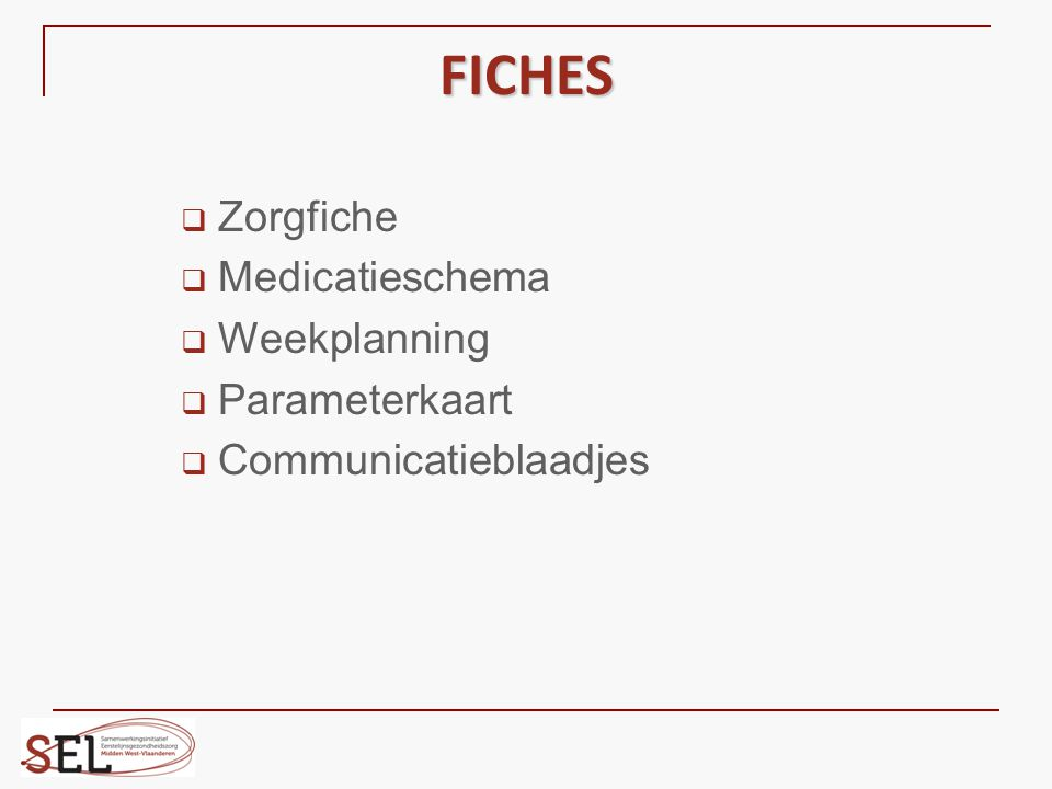 FICHES Zorgfiche Medicatieschema Weekplanning Parameterkaart