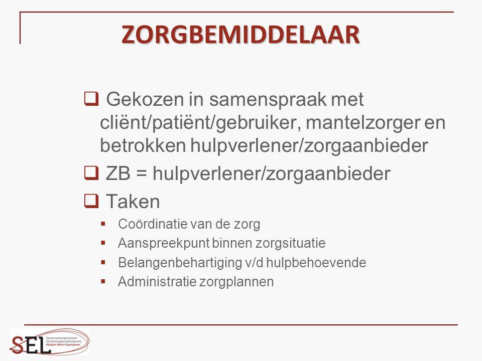 ZORGBEMIDDELAAR Gekozen in samenspraak met cliënt/patiënt/gebruiker, mantelzorger en betrokken hulpverlener/zorgaanbieder.