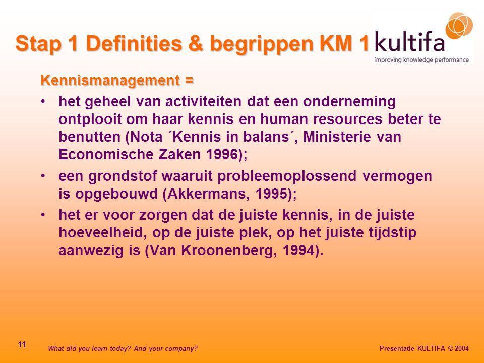 Stap 1 Definities & begrippen KM 1