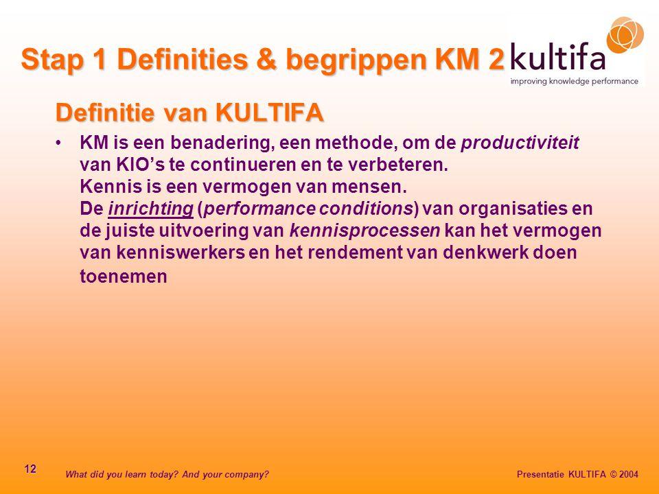 Stap 1 Definities & begrippen KM 2