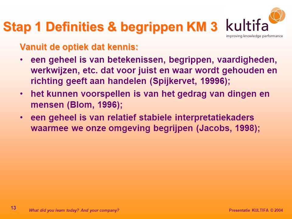 Stap 1 Definities & begrippen KM 3