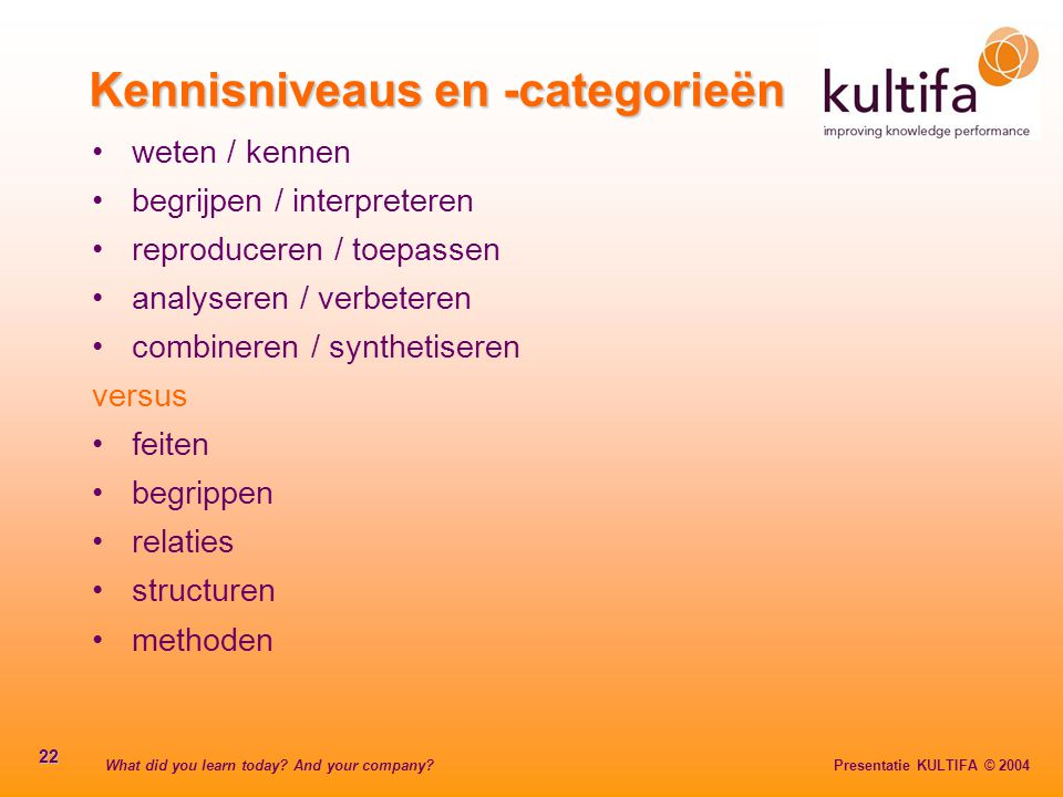 Kennisniveaus en -categorieën