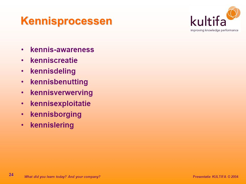 Kennisprocessen kennis-awareness kenniscreatie kennisdeling